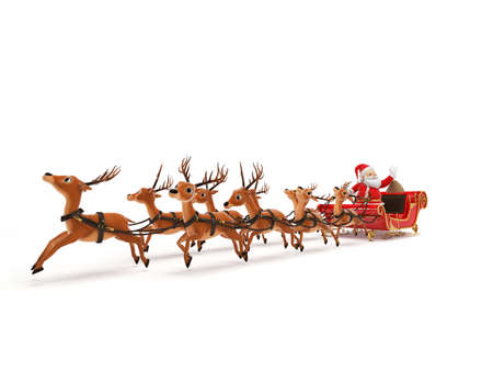 clip art santa claus: 3d rendered illustration of a little santa and its sleigh