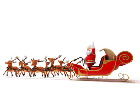 cartoon santa clause: 3d rendered illustration of a little santa and its sleigh
