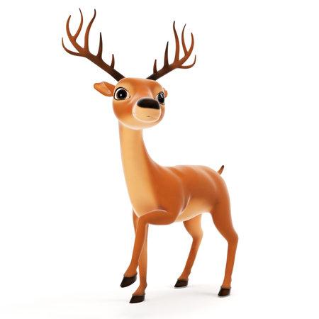 3d rendered illustration of a cute reindeer illustration
