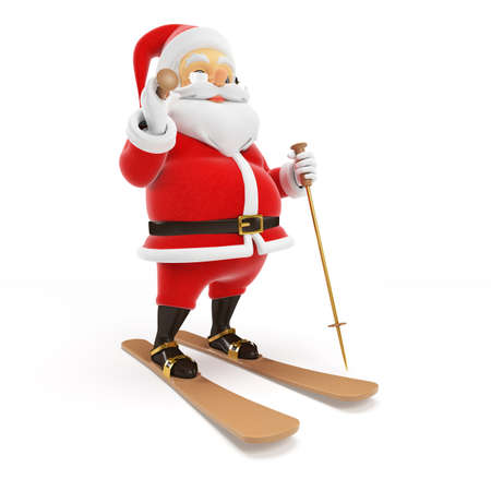 3d rendered illustration of a little santa skiing Stock Illustration - 17427032