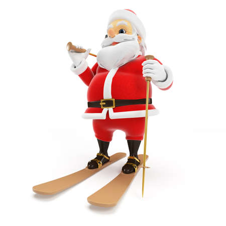 3d rendered illustration of a little santa skiing illustration