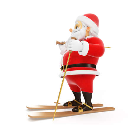 3d rendered illustration of a little santa skiing Stock Illustration - 17426905