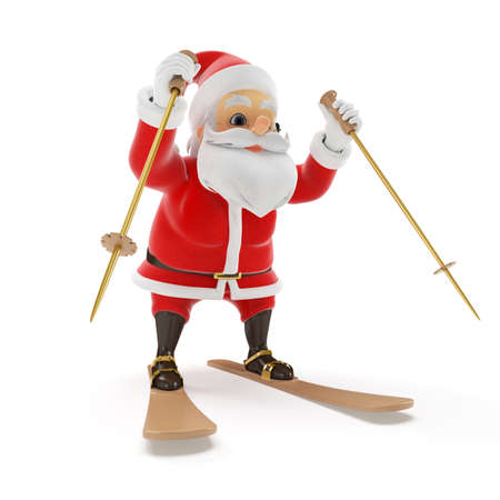 3d rendered illustration of a little santa skiing Stock Illustration - 17427081
