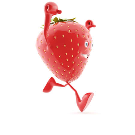 cartoon strawberry: 3d rendered illustration of a strawberry character
