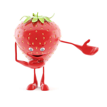 3d rendered illustration of a strawberry character illustration