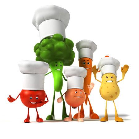 3d rindió la ilustración de un grupo de personajes vegetales