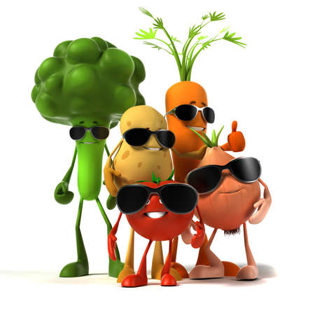 funny food: 3d rendered illustration of a group of vegetable characters
