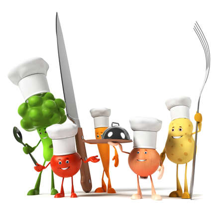 3d rendered illustration of a group of vegetable characters illustration