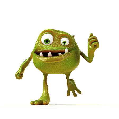 3d rendered illustration of a funny bacteria toon Stock Illustration - 17905887