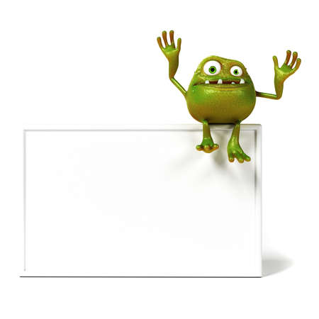 3d rendered illustration of a funny bacteria toon illustration