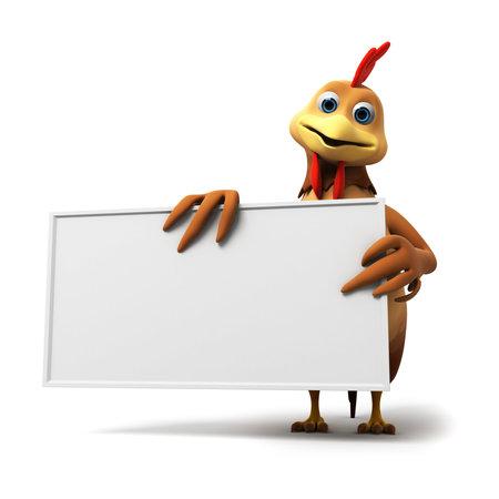 pollo caricatura: 3d rindió la ilustración de un pollo