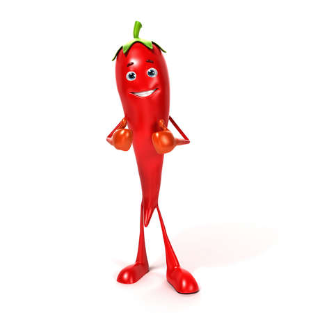 legume: 3d rendered illustration of a chili character