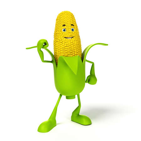 sweetcorn: 3d rendered illustration of a corn cob character