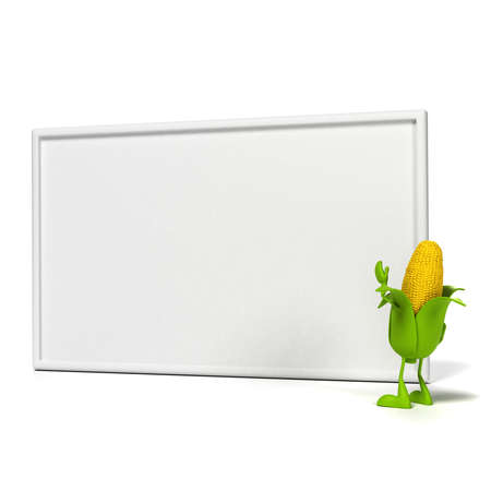 kernels: 3d rendered illustration of a corn cob character