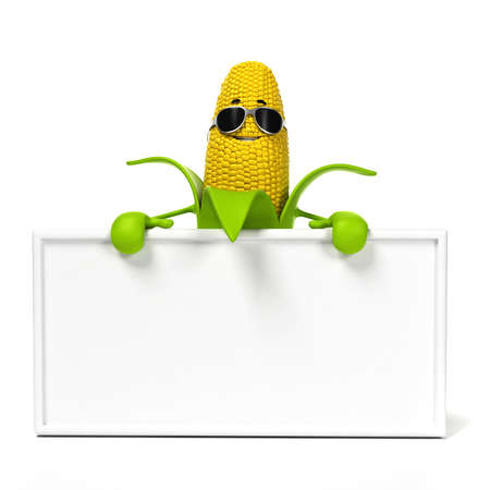 toon: 3d rendered illustration of a corn cob character