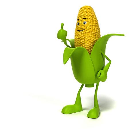 3d rendered illustration of a corn cob character illustration