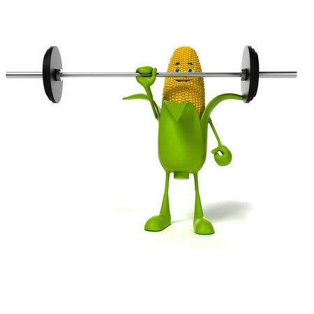 kernel: 3d rendered illustration of a corn cob character