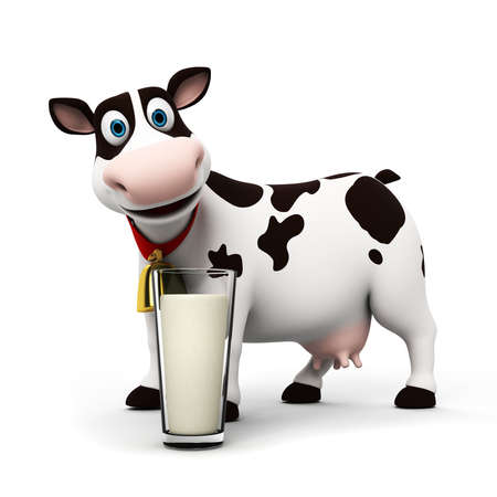 milk cow: 3d rendered illustration of a toon cow