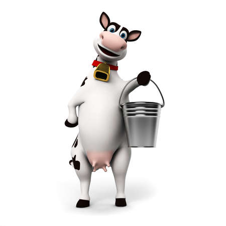 milk pail: 3d rendered illustration of a toon cow