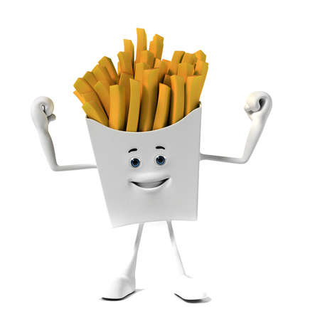 fried potatoes: 3d rendered illustration of a french fries character Stock Photo