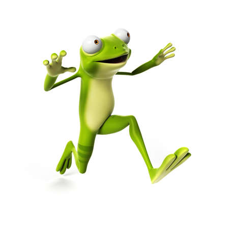 jumps: 3d rendered illustration of a funny frog Stock Photo