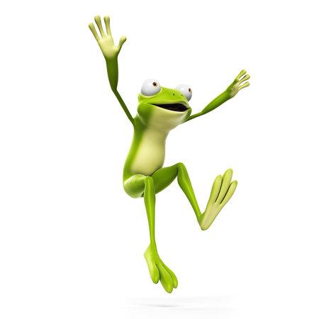 �cologie: 3d illustration rendu d'une dr�le de grenouille