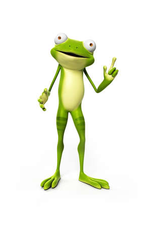 frog jump: 3d rendered illustration of a funny frog Stock Photo