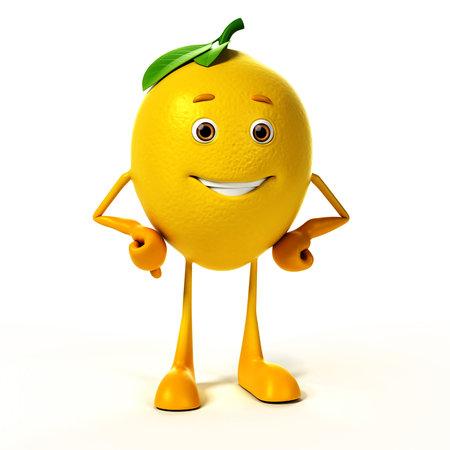 limon caricatura: 3d rindi? la ilustraci?n de un personaje de lim?n