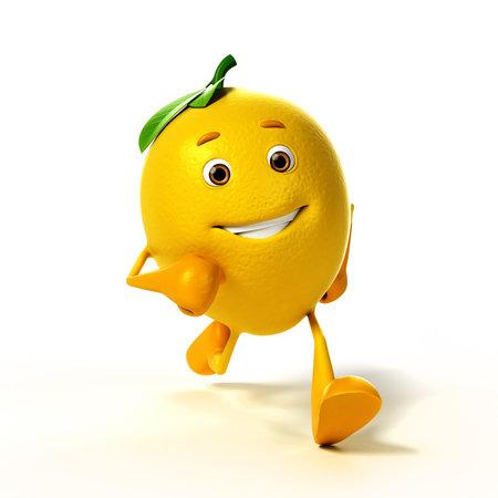 limon caricatura: 3d rindió la ilustración de un personaje de limón Foto de archivo