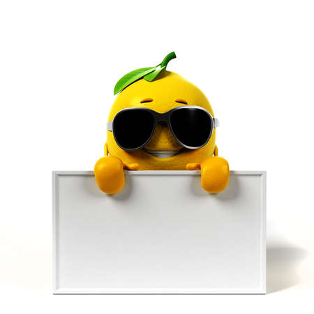 blank board: 3d rendered illustration of a lemon character