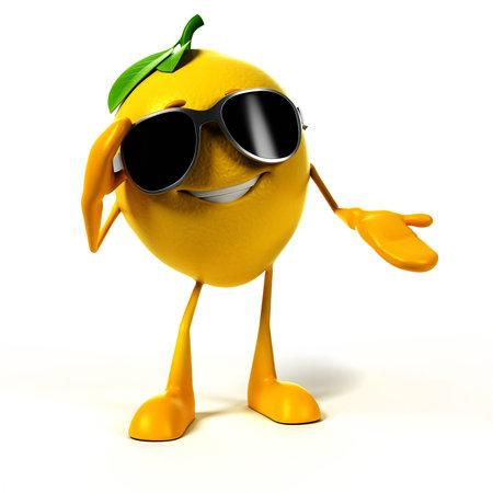 3d rindió la ilustración de un personaje de limón Foto de archivo