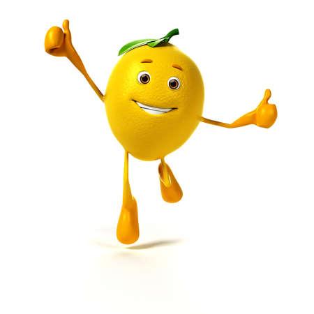 funny fruit: 3d rendered illustration of a lemon character