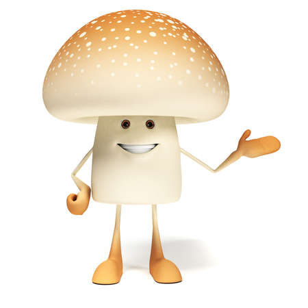 3d rendered illustration of a mushroom character illustration