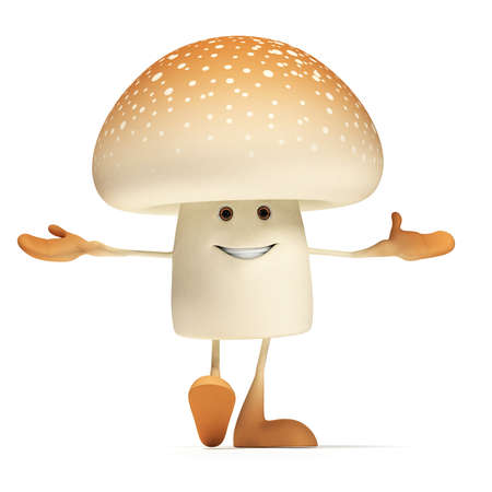 3d rendered illustration of a mushroom character Stock Photo