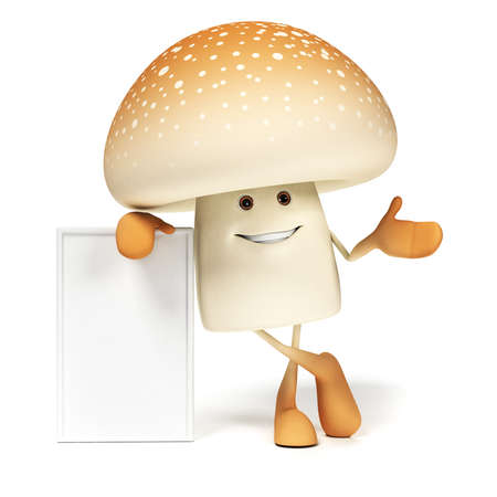 3d rendered illustration of a mushroom character illustration