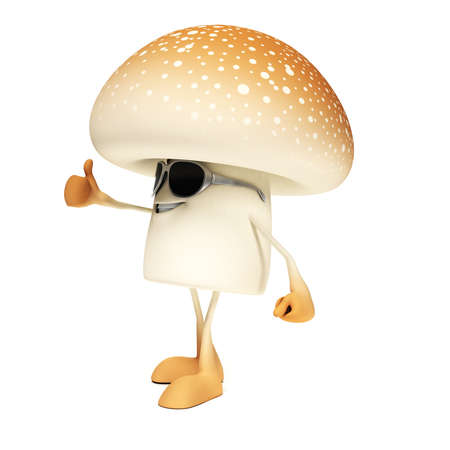 3d rendered illustration of a mushroom character Stock Illustration - 17904948