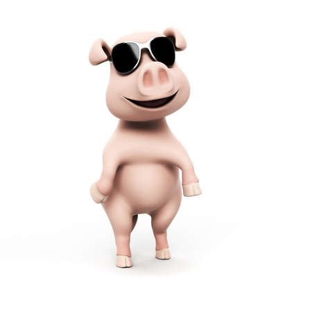 pig tails: 3d rendered illustration of a funny pig Stock Photo