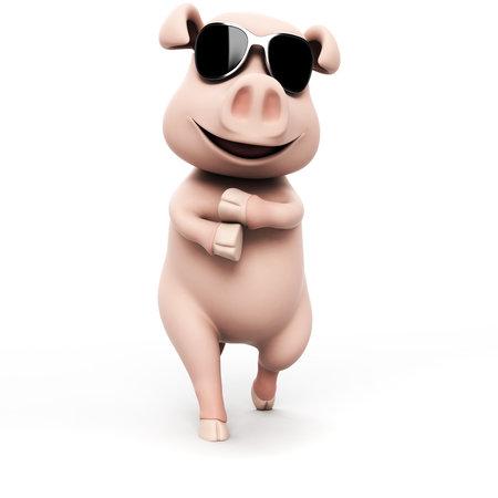 högtider: 3d illustration av en rolig gris