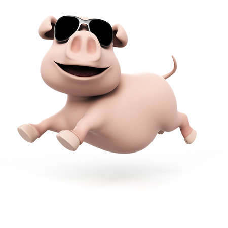 pig roast: 3d rendered illustration of a funny pig Stock Photo