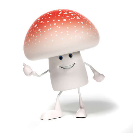 spore: 3d rendered illustration of a mushroom character Stock Photo