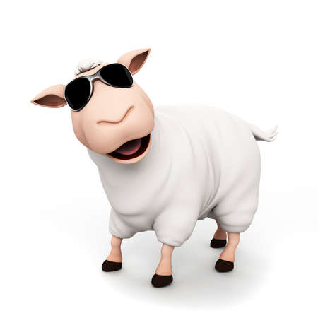 3d rendered illustration of a funny sheep Stock Photo