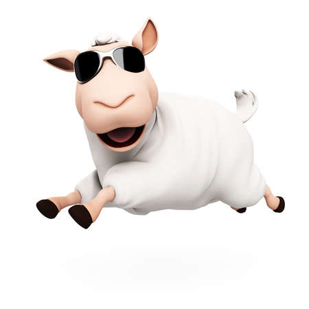 oveja: 3d rindi� la ilustraci�n de una oveja divertida Foto de archivo