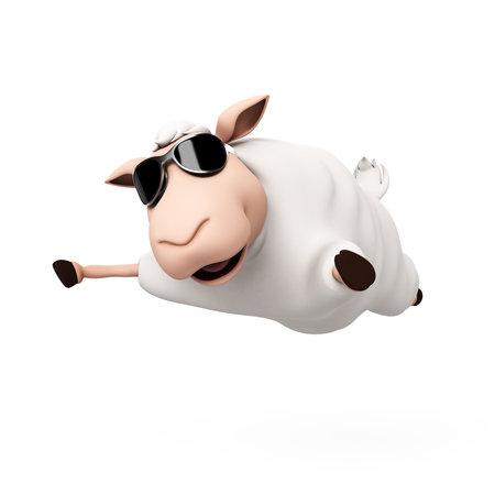 and sheep: 3d rindió la ilustración de una oveja divertida Foto de archivo