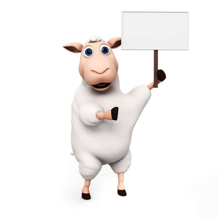 sheep sign: 3d rendered illustration of a funny sheep Stock Photo