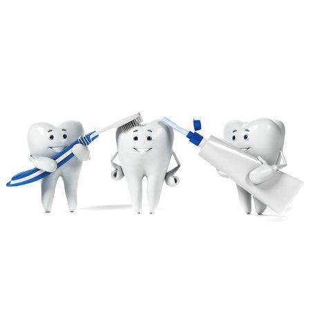 dientes con caries: 3d rindi� la ilustraci�n de un personaje diente
