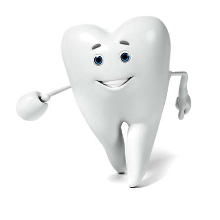 dental caries: 3d rendered illustration of a tooth character