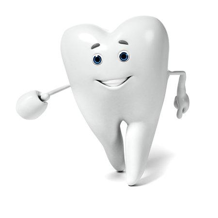 caries dental: 3d rindió la ilustración de un personaje diente