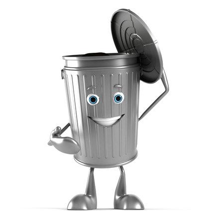 3d teruggegeven illustratie van een prullenbak karakter