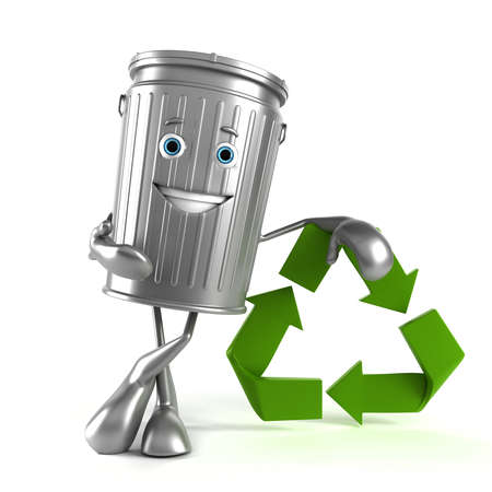 3d rendered illustration of a trash can character