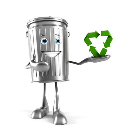 recycle bin: 3d rendered illustration of a trash can character